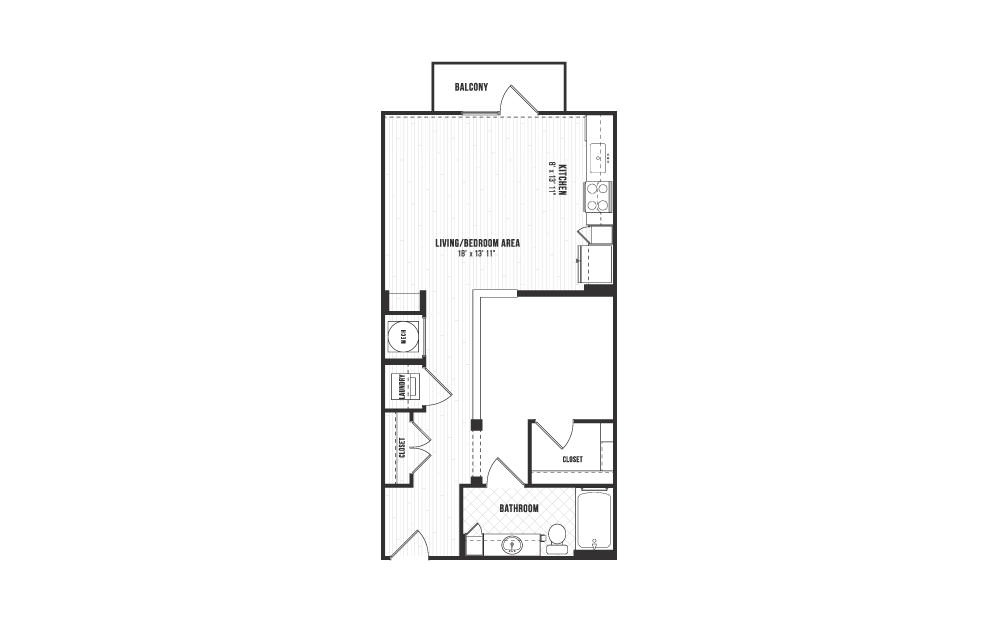 A1 - Studio floorplan layout with 1 bath and 676 square feet.