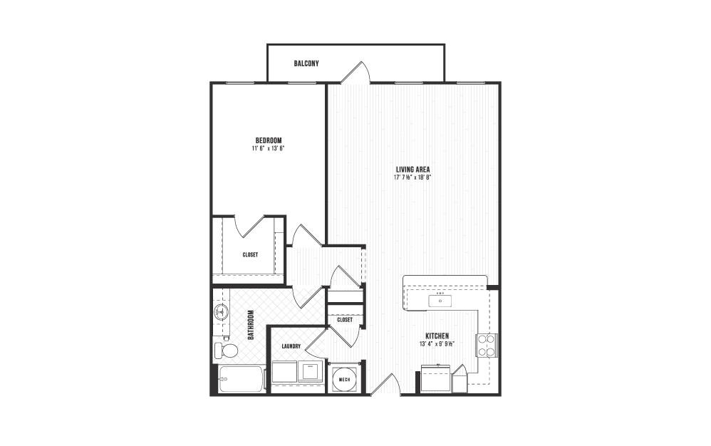 A10 - 1 bedroom floorplan layout with 1 bath and 992 square feet.