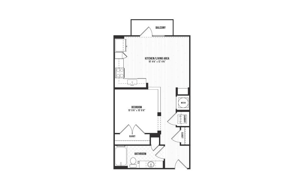A12 - 1 bedroom floorplan layout with 1 bath and 618 square feet.