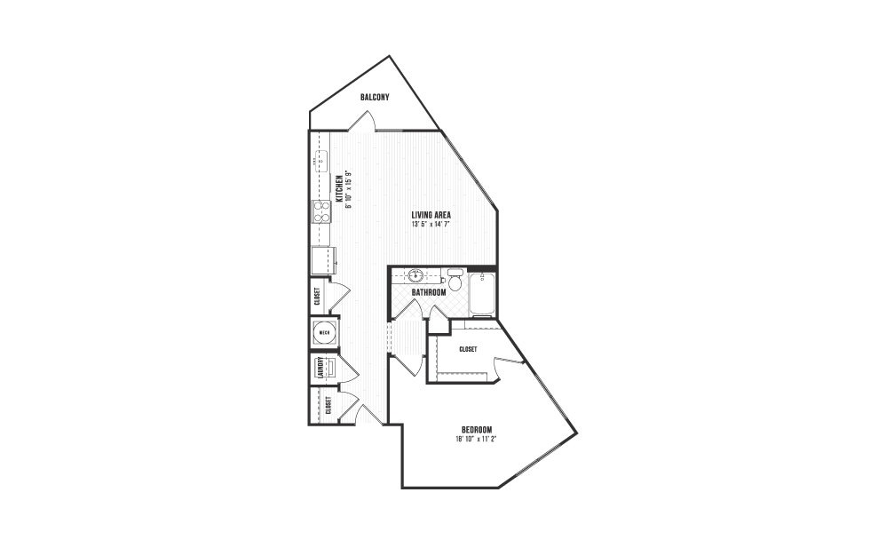 A13 - 1 bedroom floorplan layout with 1 bath and 822 square feet.