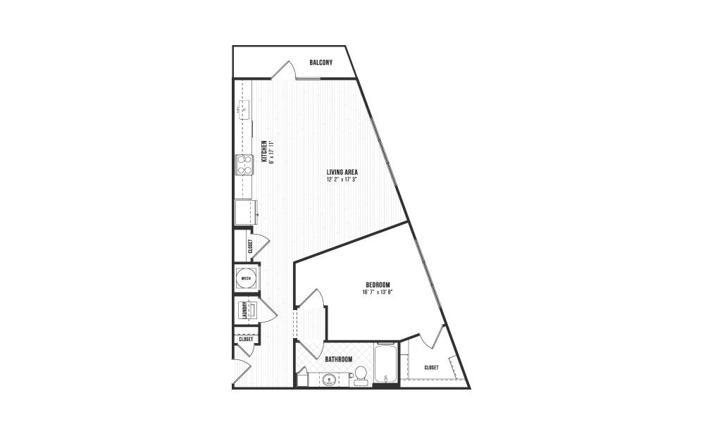 A14 - 1 bedroom floorplan layout with 1 bath and 871 square feet.
