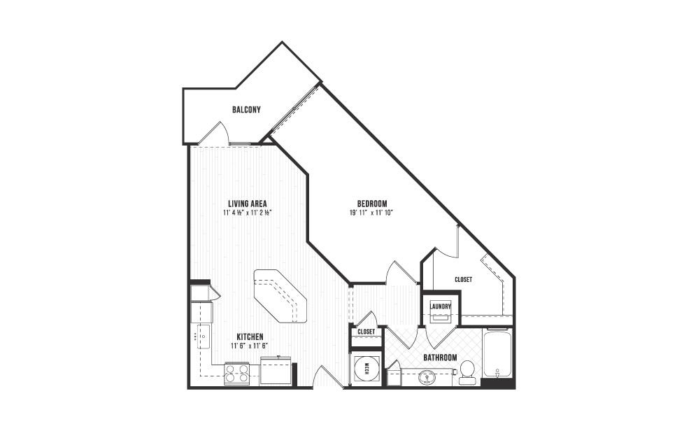 A2 - 1 bedroom floorplan layout with 1 bath and 719 square feet.