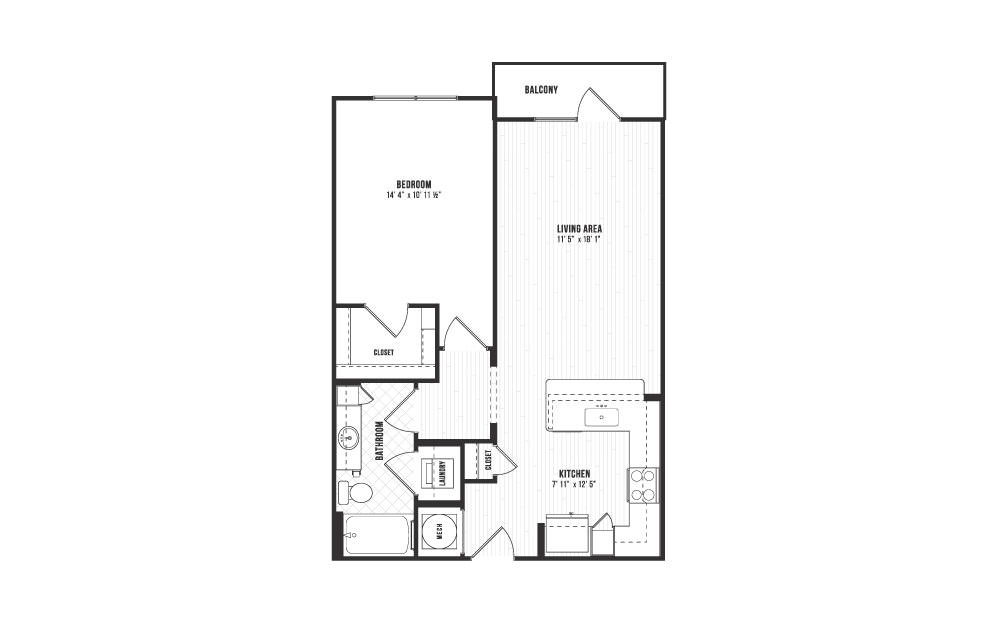 A3 - 1 bedroom floorplan layout with 1 bath and 753 square feet.