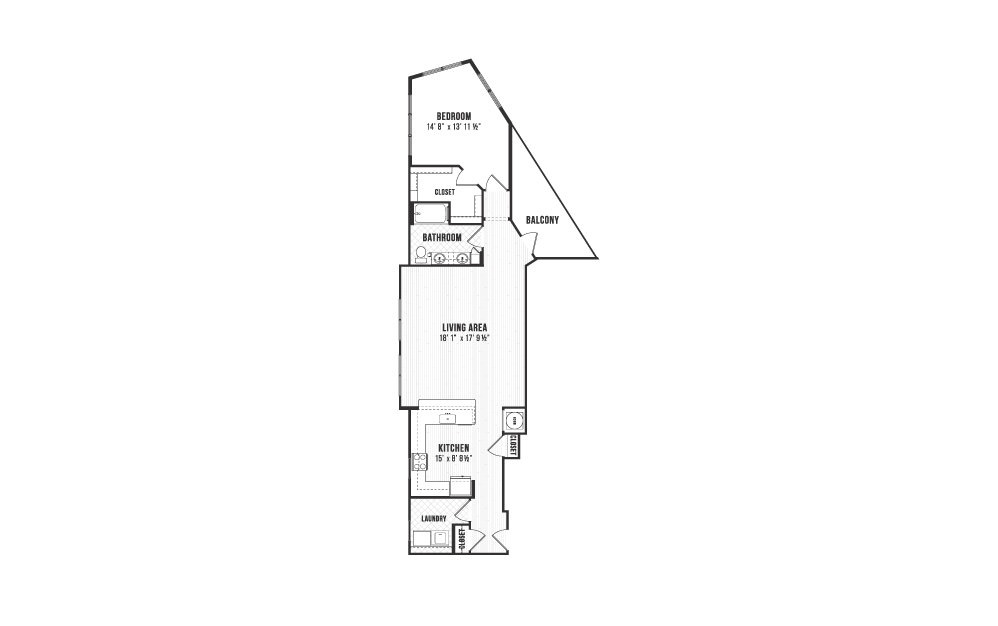 A5 - 1 bedroom floorplan layout with 1 bath and 1133 square feet.