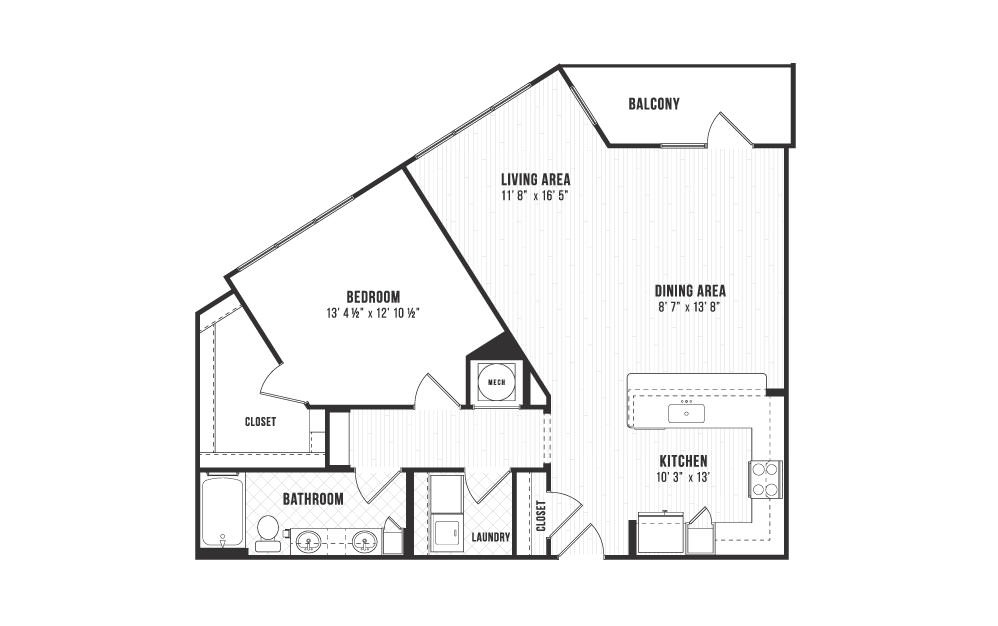 A6 - 1 bedroom floorplan layout with 1 bath and 1030 square feet.