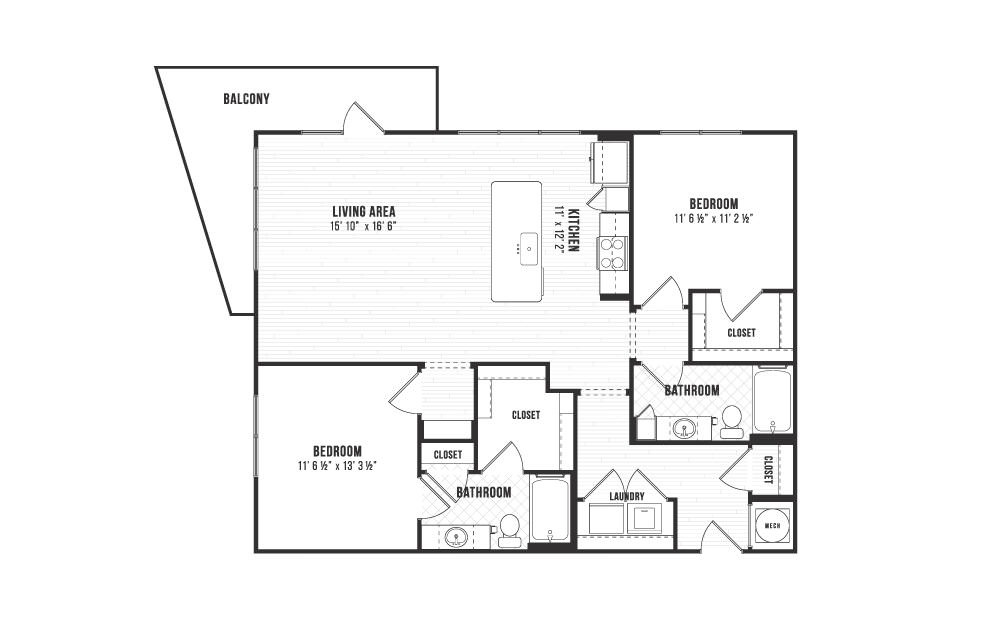 B2 - 2 bedroom floorplan layout with 2 baths and 1228 square feet.