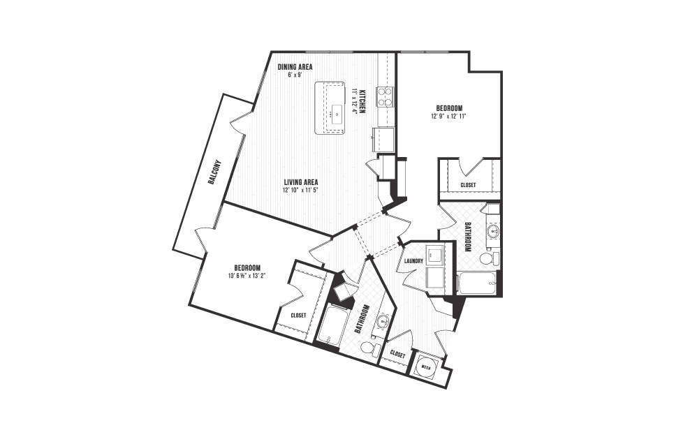 B4 - 2 bedroom floorplan layout with 2 baths and 1251 square feet.