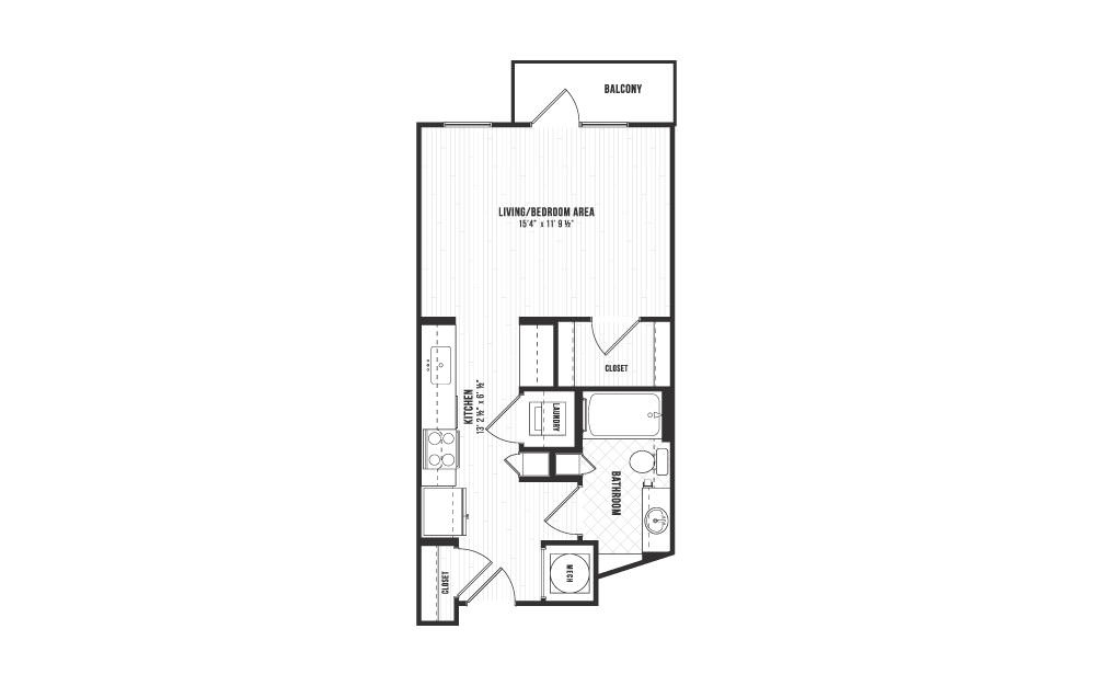 S1 - Studio floorplan layout with 1 bath and 480 square feet.